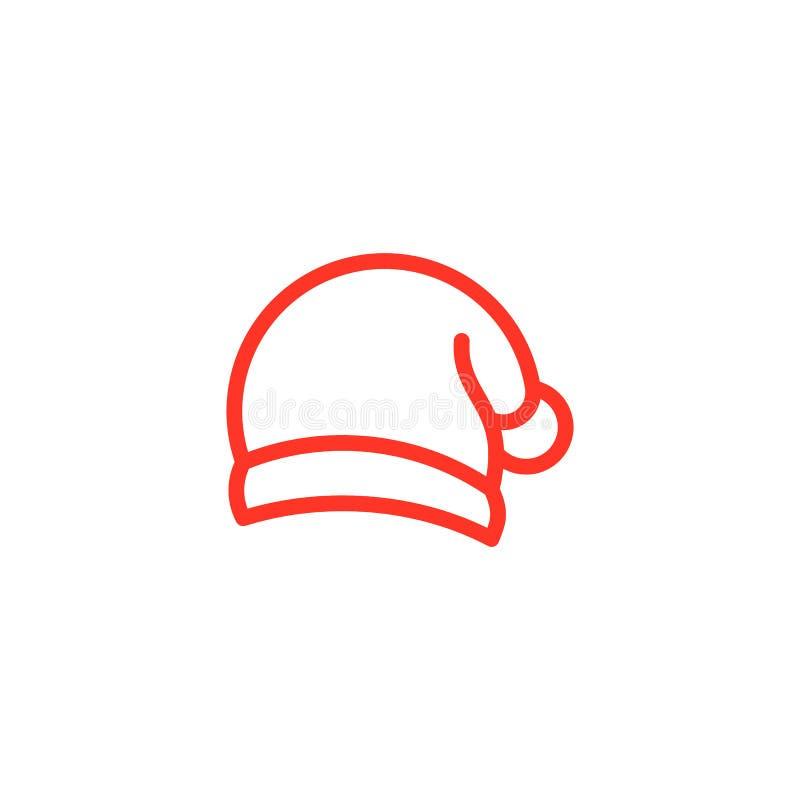 Jultomtenhatt, mono linje för röd färg royaltyfri illustrationer