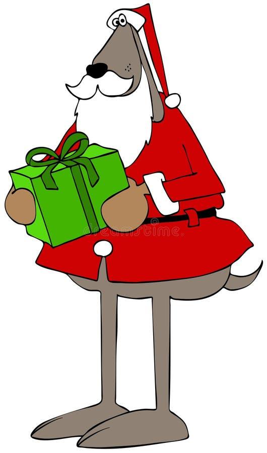 Jultomtenhund som bär en slågen in packe stock illustrationer