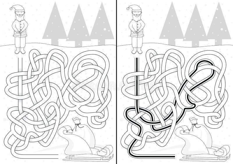 Jultomtenlabyrint vektor illustrationer