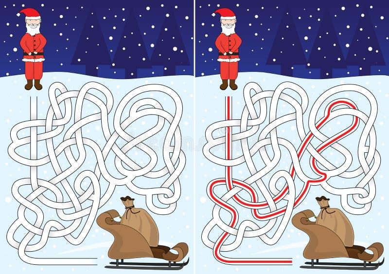 Jultomtenlabyrint royaltyfri illustrationer