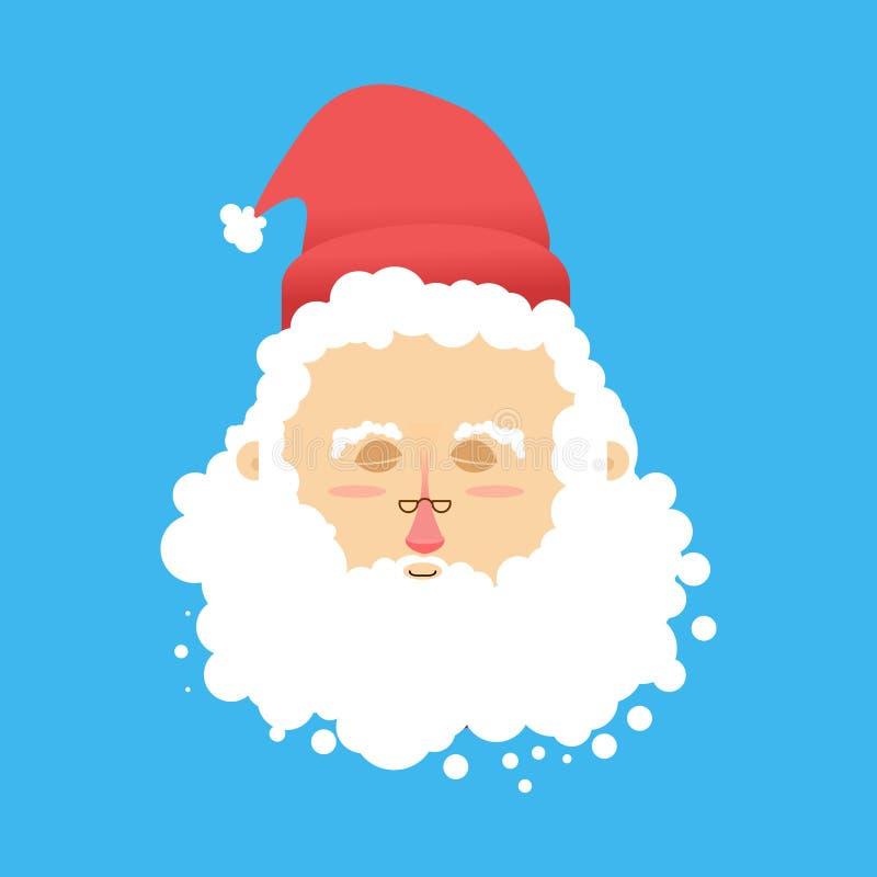 Jultomtensömn Emoji kattjulen drömm det varma fönstret för home sillsömnar Santa Claus med ögon stänger sig stock illustrationer