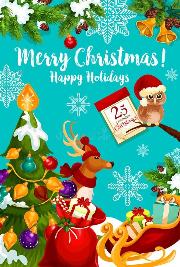 Jultomtensläde med jul gåva och renkortet royaltyfri illustrationer