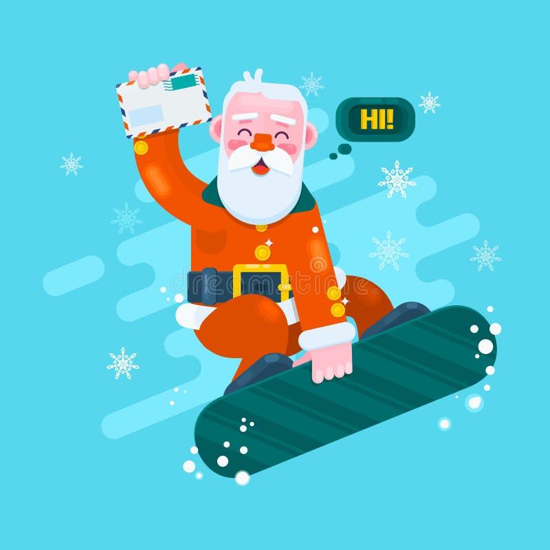 Jultomtensnowboarding Glad julkort med snölandskap också vektor för coreldrawillustration royaltyfri illustrationer