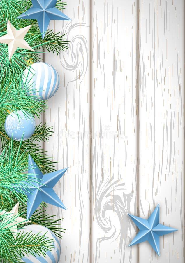 Julträbakgrund med gräsplanfilialer och blåa ornamen stock illustrationer