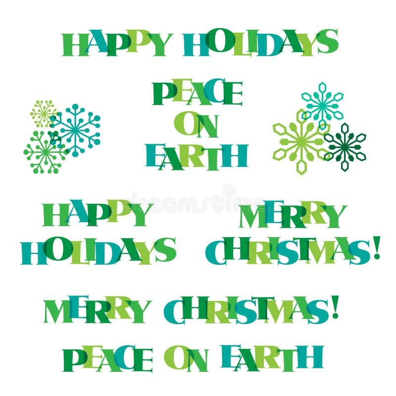 jultypografi för blå gräsplan och snöflingadiagram vektor illustrationer