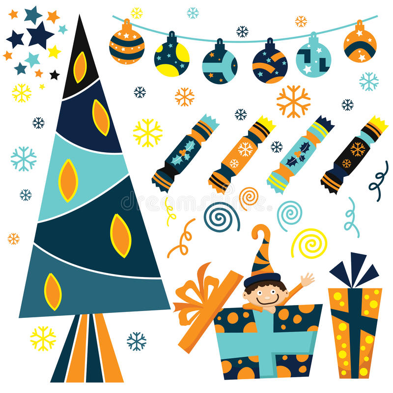 Juluppsättning vektor illustrationer