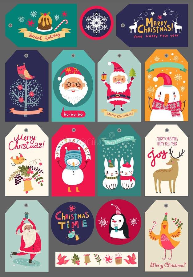 Juluppsättning av etiketter och klistermärkear stock illustrationer