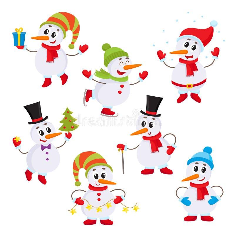 Juluppsättning av gulliga och roliga små snögubbear vektor illustrationer