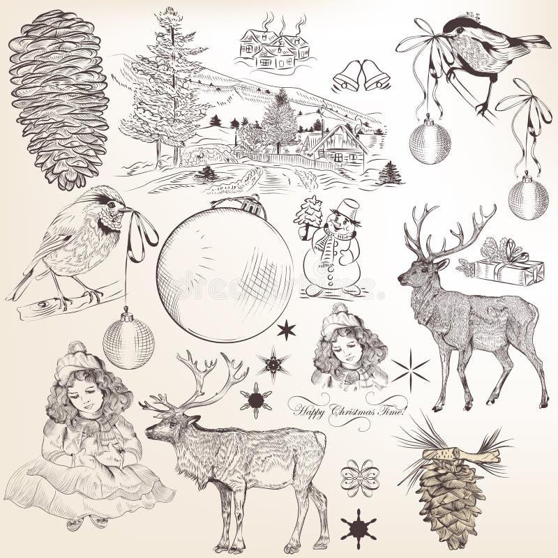 Juluppsättning av hand drog beståndsdelar för design stock illustrationer