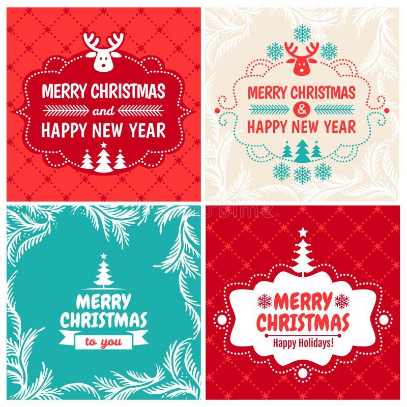 Juluppsättning för tappninghälsningkort stock illustrationer