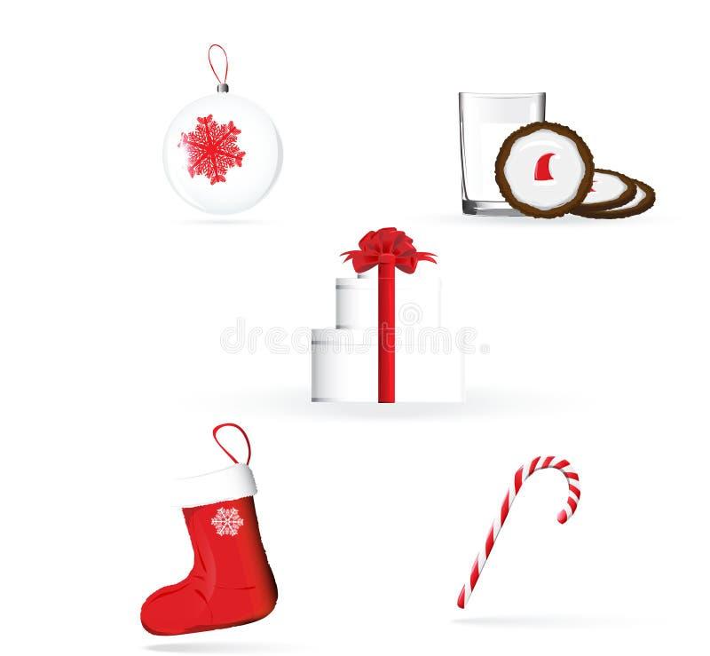 Juluppsättning i röda och vitfärger vektor illustrationer