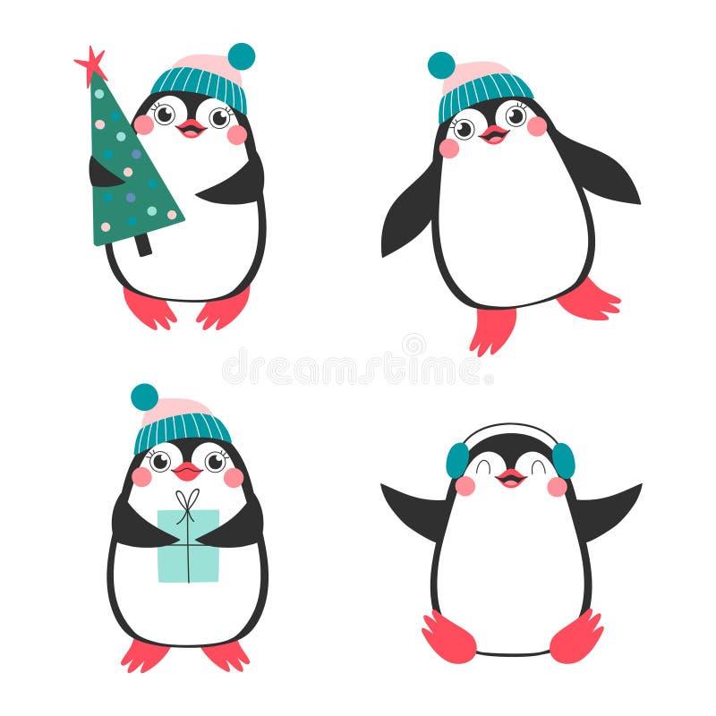 Juluppsättning med gulliga pingvin stock illustrationer