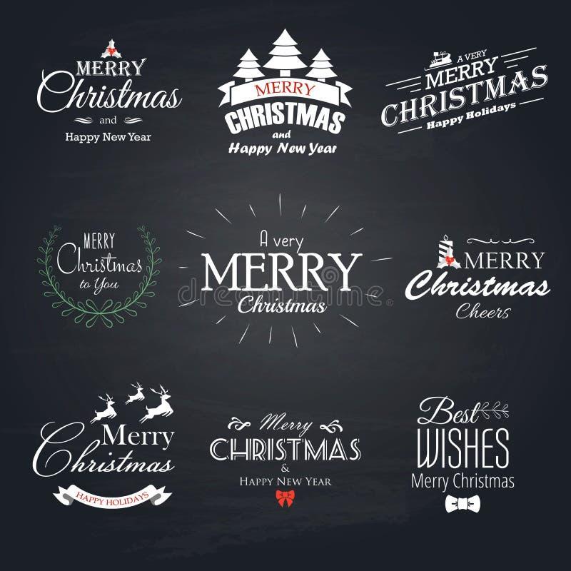 Juluppsättningetiketter, emblem och dekorativa beståndsdelar - Chalkboa stock illustrationer