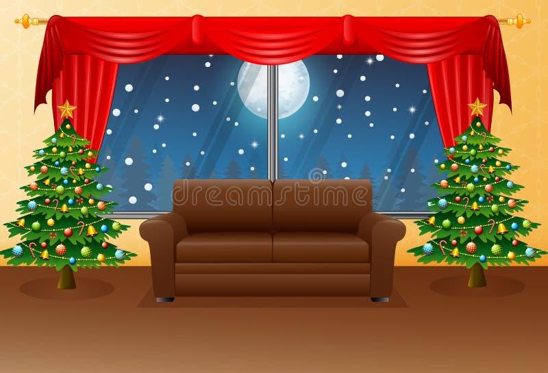 Julvardagsrum med fåtöljen, granträdet och den röda gardinen vektor illustrationer