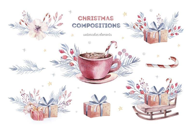 Julvattenfärgen ställde in av beståndsdelar Vinter isolerad illustration Semestra designen med snögubben greeting nytt ?r f?r kor vektor illustrationer