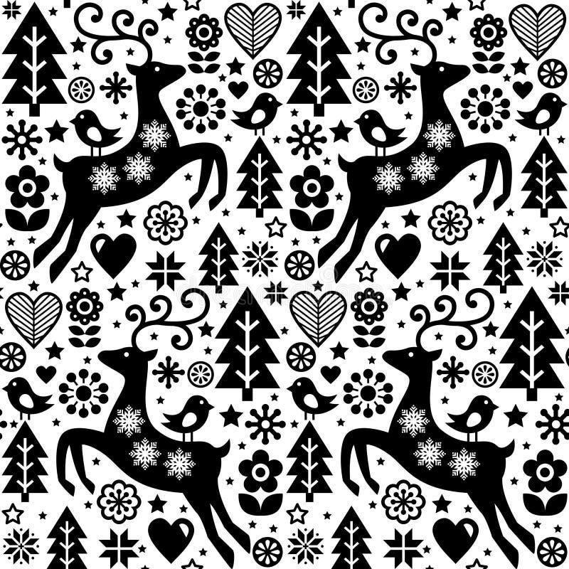 Julvektorfolk utformar den sömlösa modellen, skandinavisk design i svartvitt, renen, fåglar och blommar garnering, vägg royaltyfri illustrationer