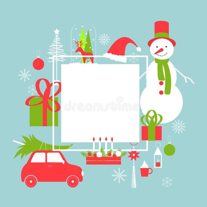 Julvektorram med snögubben och bilen stock illustrationer