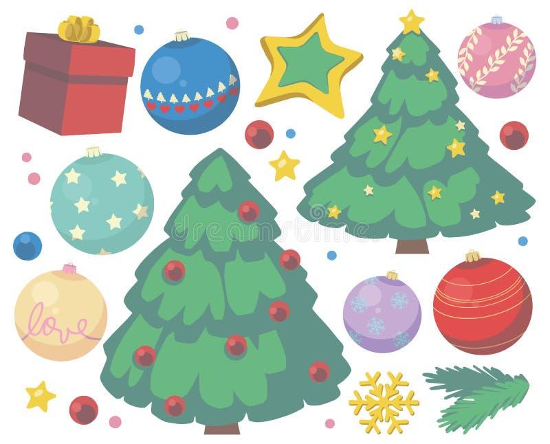 Julvektorsamling med gulliga tecknad filmträd-, gåva-, stjärna-, snöflinga- och trädstruntsaker stock illustrationer