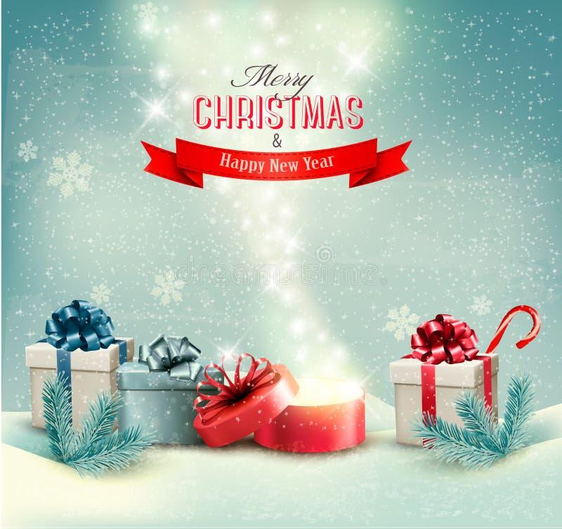 Julvinterbakgrund med gåvor och öppnar royaltyfri illustrationer