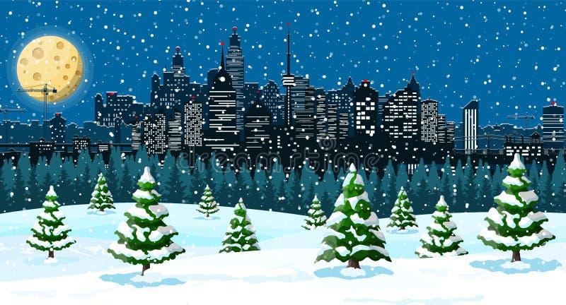 Julvintercityscape, snöflingor och träd vektor illustrationer