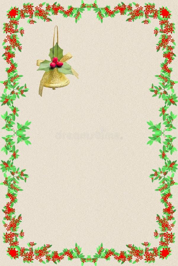 Julvykort med en guld- klocka och en ram av grönt och rött fotografering för bildbyråer