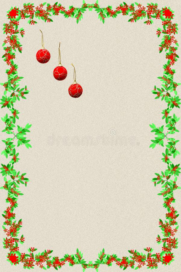 Julvykort med tre röda julbollar och ram av G arkivbild