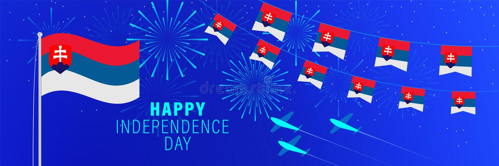July 17 Slovakia Independence Day greeting card. Celebration background with fireworks, flags, flagpole and text vector illustration