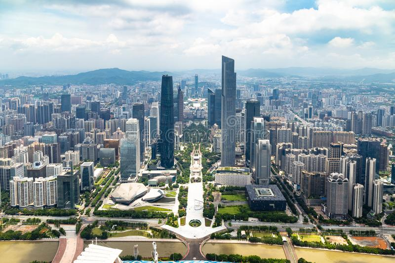 July 2017 – Guangzhou, China - View of Guangzhou central business district and of the Pearl River from the 488m observation deck. Of the Canton Tower royalty free stock photos