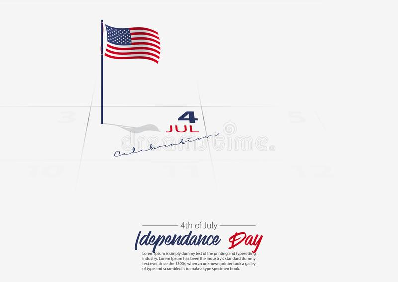 4th of July. United State of America Independence day. Flag of USA on the calendar marked date Patriotic holiday. Vector royalty free illustration