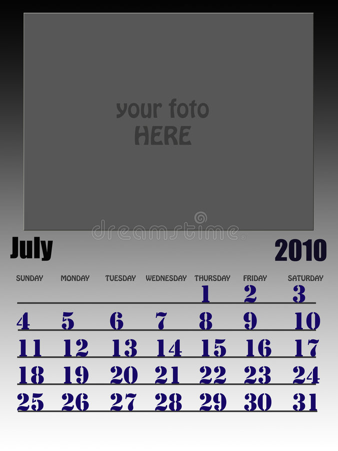 July 2010. Wall calendar with place for your kids image. Week starts on sunday royalty free illustration