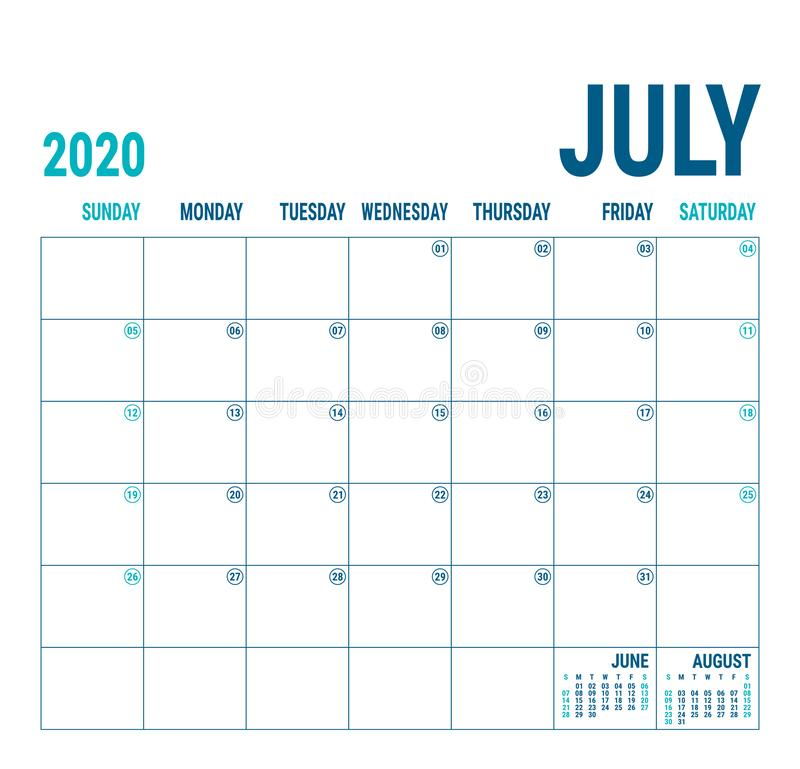 Free July 2020. Calendar Planner. English Calender Template. Vector Square Grid. Office Business Planning. Creative Design. Blue Color Royalty Free Stock Image - 159258956