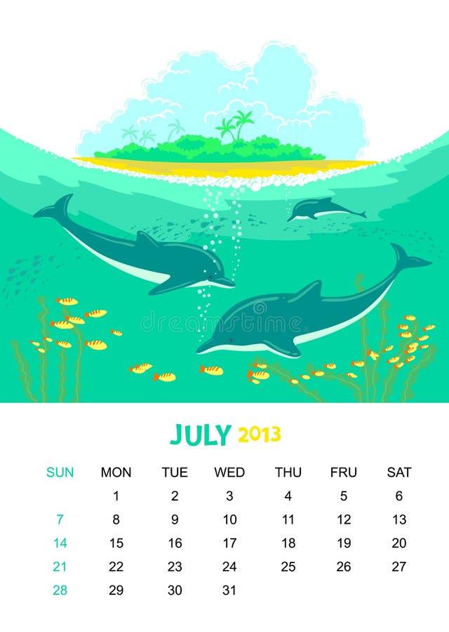 July. Vector calendar 2013. July. Animals design stock illustration