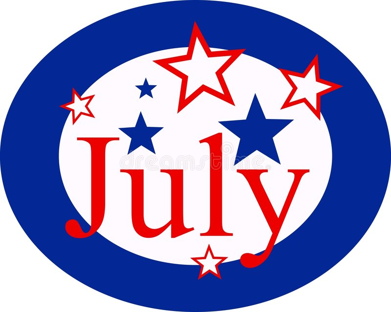 July. Graphic representing the month of July and American independence day vector illustration