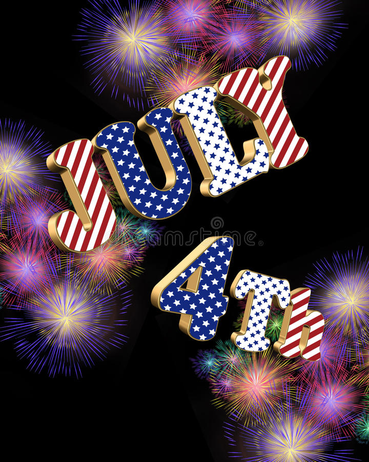 Download July 4th Fireworks With 3D Text Stock Illustration - Image: 14298865