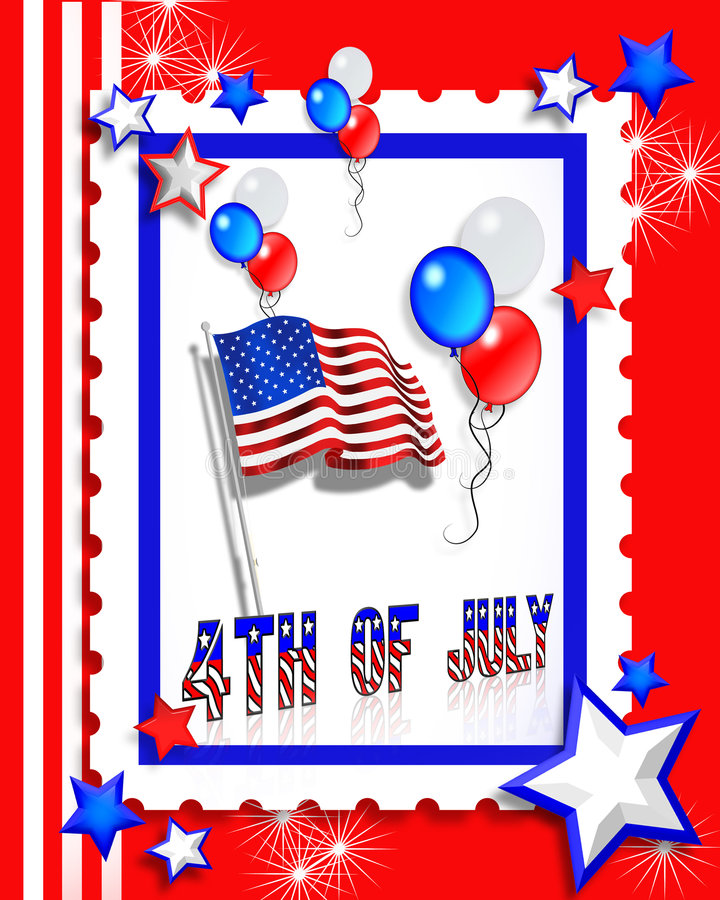 July 4th Party Invitation Card Stock Photo