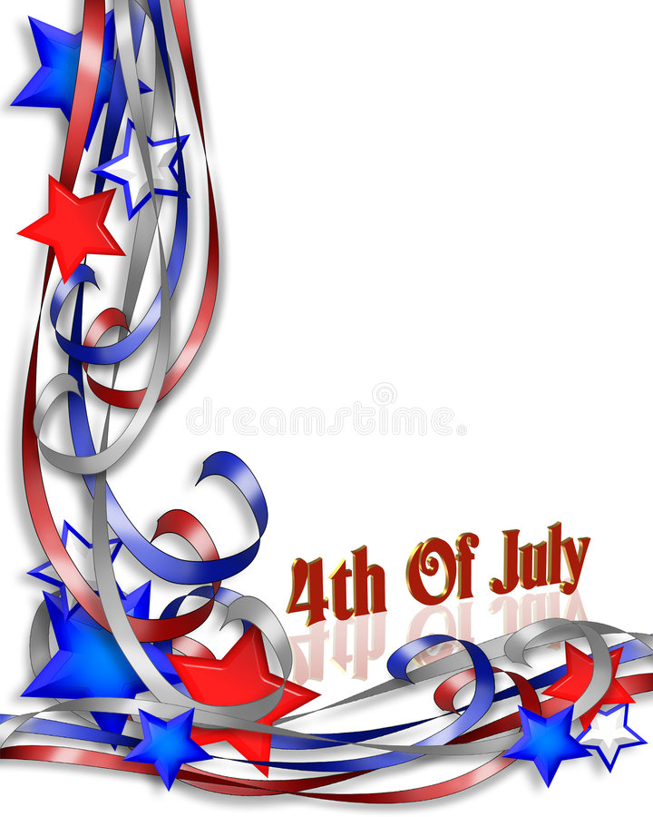July 4th Patriotic Background border. 3D Illustrated stars and ribbons for patriotic 4th of July background, border or corner design with copy space vector illustration
