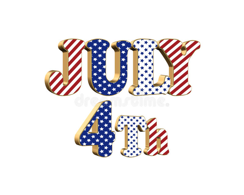 July 4th patriotic graphic isolated stock illustration