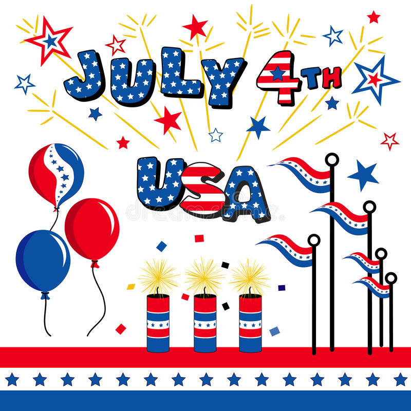 July 4th, USA. Patriotic background of Stars & Stripes, balloons, firecrackers, flares, flags, fireworks & bunting for July 4th celebrations, holidays, picnics vector illustration