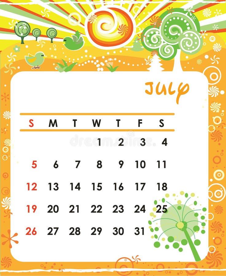 July. Decorative Frame for calendar - July vector illustration
