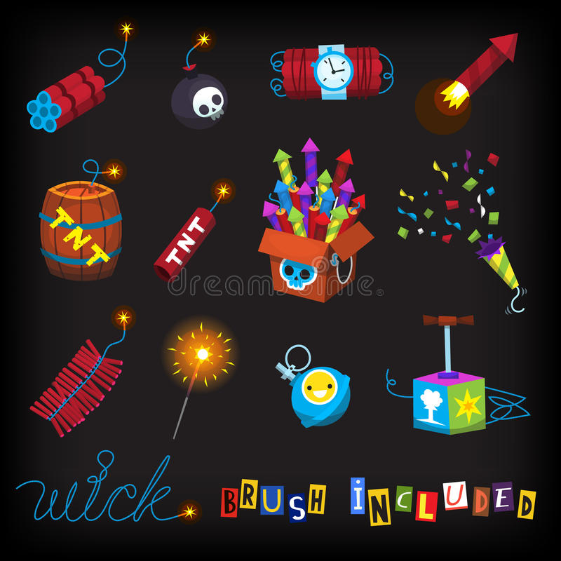 Set of bombs, fireworks, missles and other explosives. vector illustration