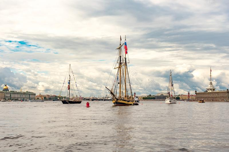 July 13, 2019 Baltic yacht week, near Peter and Paul fortress, St. Petersburg, Russia. Holiday yachts and small ships stock photo