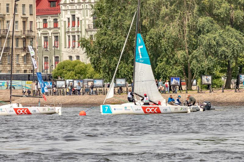 July 13, 2019 Baltic yacht week, near Peter and Paul fortress, St. Petersburg, Russia. Holiday yachts and small ships stock image