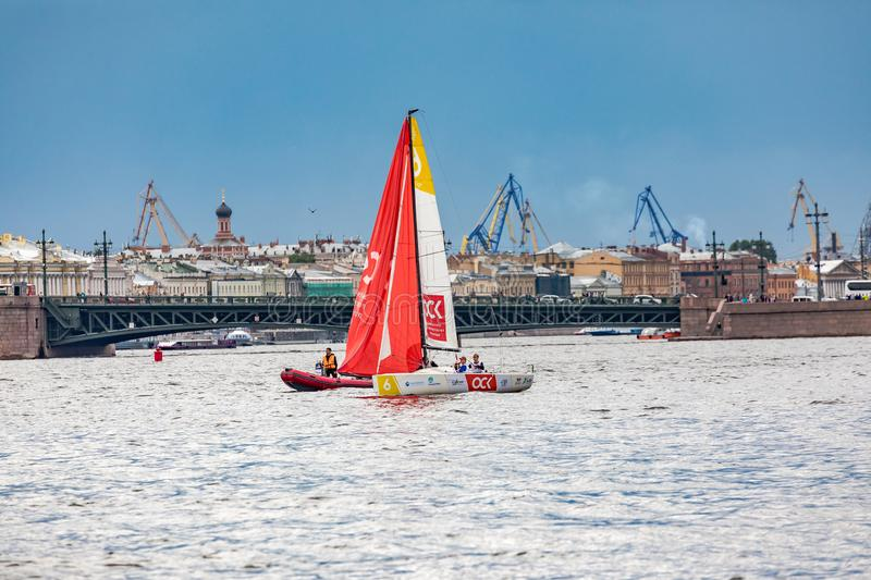July 13, 2019 Baltic yacht week, near Peter and Paul fortress, St. Petersburg, Russia. Holiday yachts and small ships stock photography