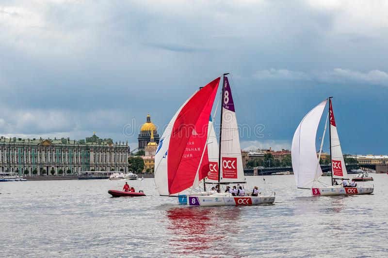 July 13, 2019 Baltic yacht week, near Peter and Paul fortress, St. Petersburg, Russia. Holiday yachts and small ships royalty free stock photo