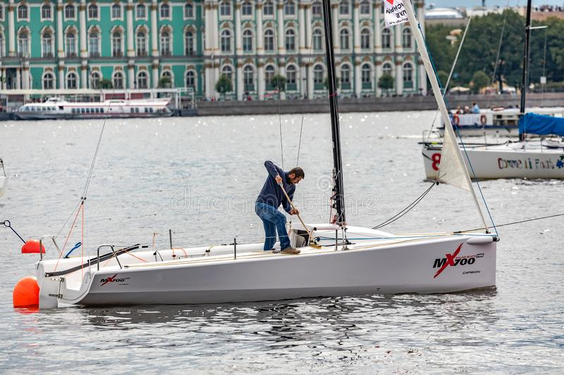 July 13, 2019 Baltic yacht week, near Peter and Paul fortress, St. Petersburg, Russia. Holiday yachts and small ships royalty free stock photography