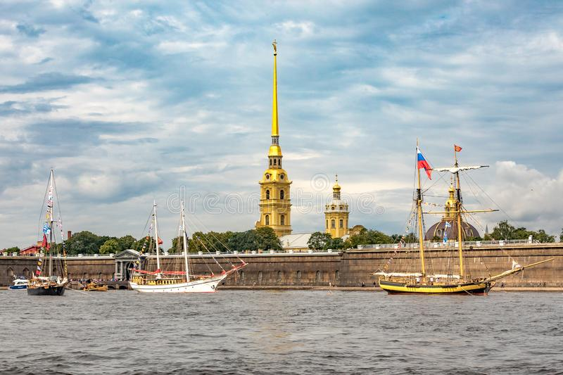 July 13, 2019 Baltic yacht week, near Peter and Paul fortress, St. Petersburg, Russia. Holiday yachts and small ships royalty free stock photos