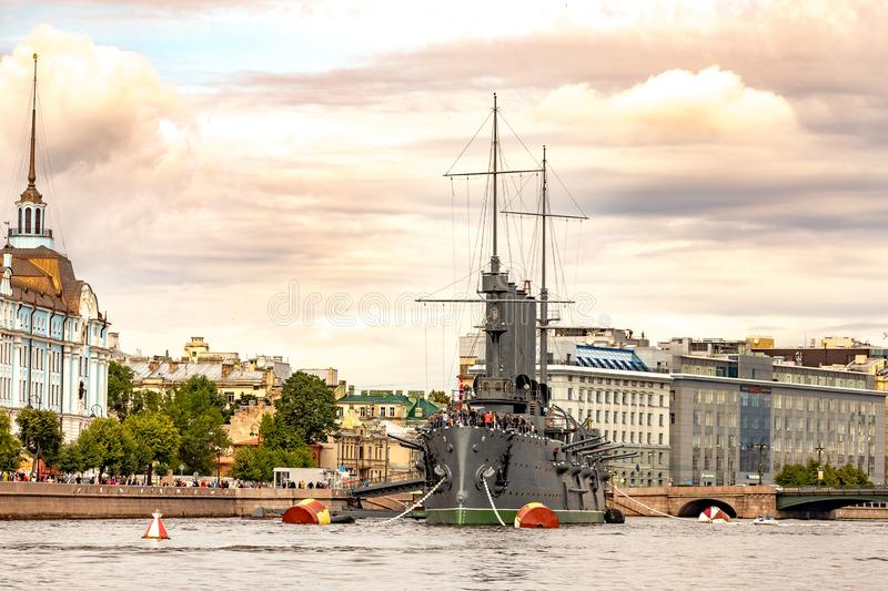 July 13, 2019 Baltic yacht week, near Peter and Paul fortress, St. Petersburg, Russia. Holiday yachts and small ships royalty free stock image