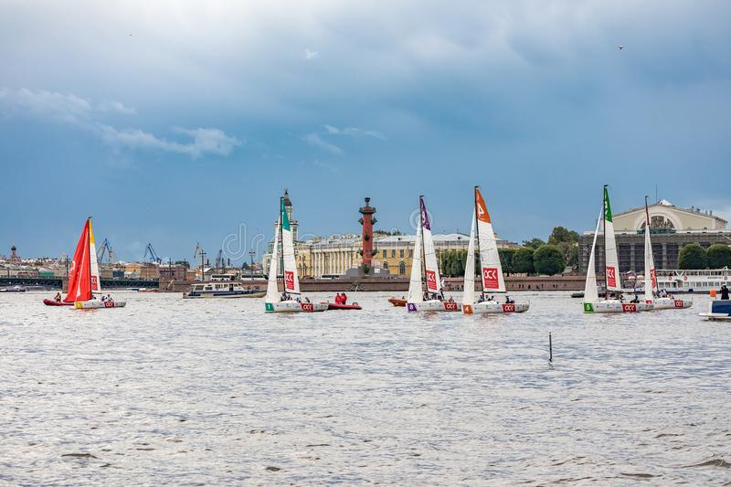 July 13, 2019 Baltic yacht week, near Peter and Paul fortress, St. Petersburg, Russia. Holiday yachts and small ships stock photos