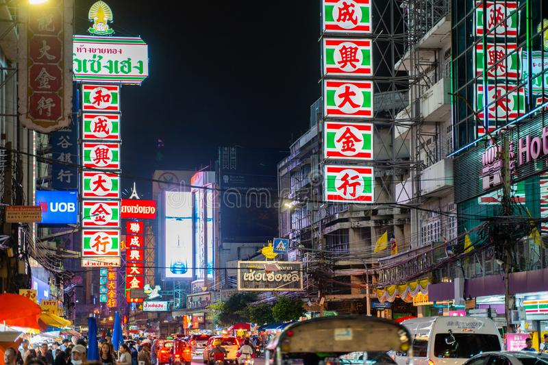 25 July 2019-Bangkok::China town bangkok. Thailand royalty free stock image