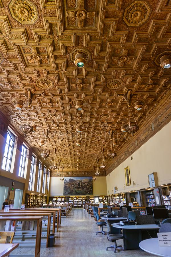 July 13, 2019 Berkeley / CA / USA - Reading and Research Hall at Doe Library in the University of California at Berkeley campus royalty free stock photo